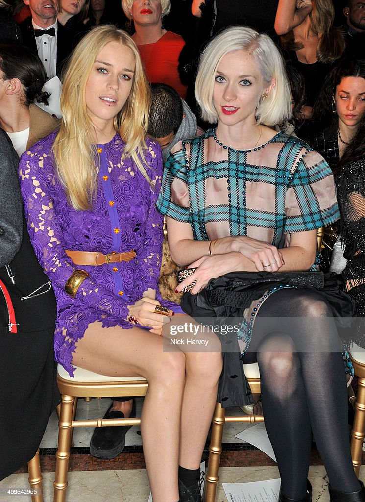 Mary Charteris and Portia Freeman attend the Julien Macdonald show at London Fashion Week AW14 at Royal Courts of Justice, Strand on February 15, 2014 in London, England.