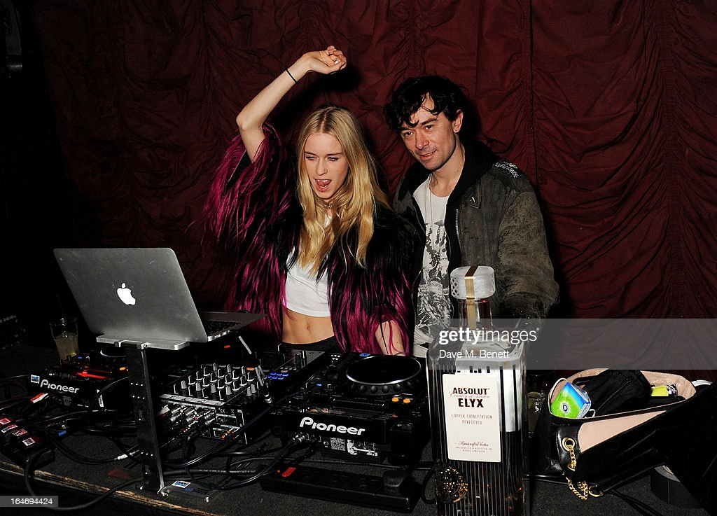 <a gi-track='captionPersonalityLinkClicked' href=/galleries/search?phrase=Mary+Charteris&family=editorial&specificpeople=4361110 ng-click='$event.stopPropagation()'>Mary Charteris</a> (L) and Robbie Furze attend the ABSOLUT Elyx launch party at The Box Soho on March 26, 2013 in London, England.