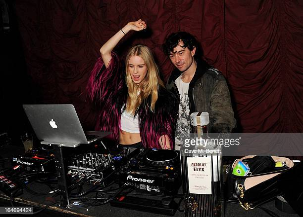 Mary Charteris and Robbie Furze attend the ABSOLUT Elyx launch party at The Box Soho on March 26 2013 in London England