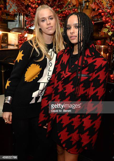 Mary Charteris and Zoe Kravitz attend the Thanksgiving dinner with Coach hosted by Zoe Kravitz and Mary Charteris on November 24 2014 in London...