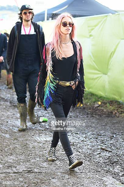 Mary Charteris wears Converse at Glastonbury Festival 2016 at Glastonbury Festival Site on June 25 2016 in Glastonbury England