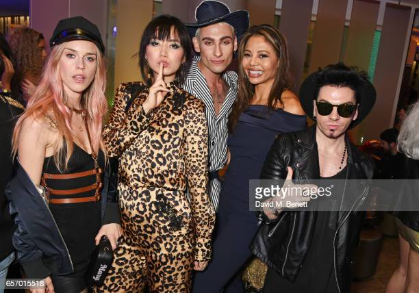 Mary Charteris Betty Bachz Kyle De'Volle Emma McQuiston Viscountess of Weymouth and designer Joshua Fenu attends the launch of the JF London x Kyle...