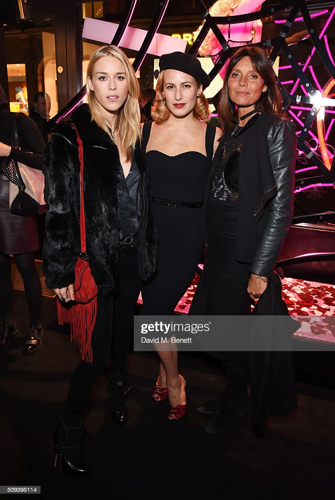 <a gi-track='captionPersonalityLinkClicked' href=/galleries/search?phrase=Mary+Charteris&family=editorial&specificpeople=4361110 ng-click='$event.stopPropagation()'>Mary Charteris</a>, <a gi-track='captionPersonalityLinkClicked' href=/galleries/search?phrase=Charlotte+Dellal&family=editorial&specificpeople=2242560 ng-click='$event.stopPropagation()'>Charlotte Dellal</a> and Debonaire Von Bismarck attend an intimate cocktail event hosted at Agent Provocateur Grosvenor Street boutique to celebrate the launch of the Agent Provocateur and Charlotte Olympia capsule collection on February 10, 2016 in London, England.
