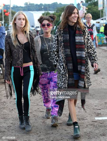 Mary Charteris Jaime Winstone and Alexa Chung attends the Glastonbury Festival at Worthy Farm on June 29 2014 in Glastonbury England