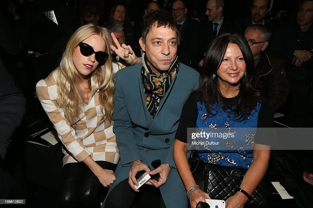 Mary Charteris, Jamie Hince and guest attend the Louis Vuitton Men Autumn / Winter 2013 show as part of Paris Fashion Week on January 17, 2013 in Paris, France.