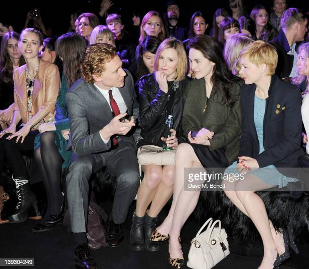 Mary Charteris Tom Hiddleston Laura Carmichael Michelle Dockery and Michelle Williams sit in the front row at the Mulberry Autumn/Winter 2012 show...