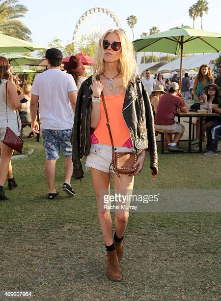 Mary Charteris wearing Coach attends the 2015 Coachella Valley Music and Arts Festival Weekend 1 at The Empire Polo Club on April 11 2015 in Indio...