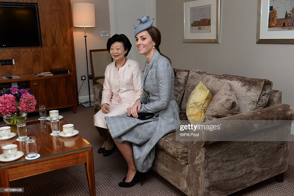 Mary Chee Bee Kiang and Catherine, Duchess of Cambridge are seen at the Royal Garden Hotel on the first of a four day state visit by the President of Singapore to the UK on October 21, 2014 in London, England.