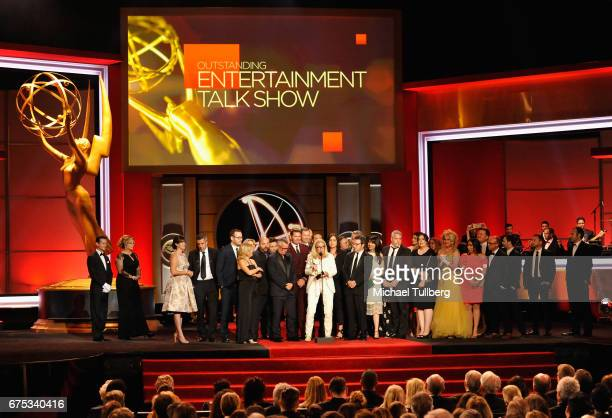 Mary Connelly center accepts the award for outstanding entertainment talk show for 'The Ellen DeGeneres Show' at the 44th annual Daytime Emmy Awards...