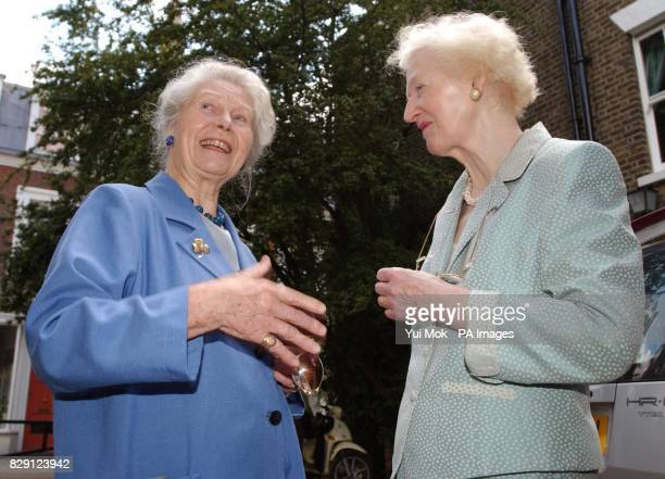 Mary de Rachewiltz daughter of American poet Ezra Pound with the widow of poet T S Eliot Valerie during the unveiling of an English Heritge Blue...