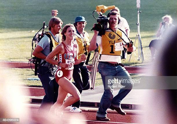 Mary Decker of the United States celebrates after her race circa 1980s