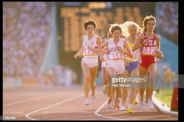 Mary Decker runs down the track during the Olympic Games at the Los Angeles Memorial Coliseum in Los Angeles California Mandatory Credit Rick Stewart...