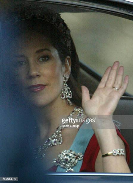 Mary Donaldson waves as she and Danish Crown Prince Frederik arrive to the Royal Theatre May 13 2004 in Copenhagen Denmark The couple who will marry...