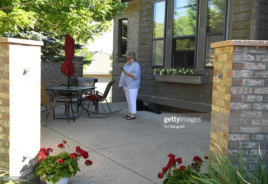 Mary Drotar waits for her son Patrick Meeker to arrive from the airport outside her home in Littleton, June 24, 2016. Mary and her husband Barry put Meeker up for adoption when they were teenage parents. Meeker is coming from St. Louis to meet this birth parents and his two sisters. Meeker used Ancestry.com's DNA test to track down a couple of second cousins and, eventually, connect with his birth parents.