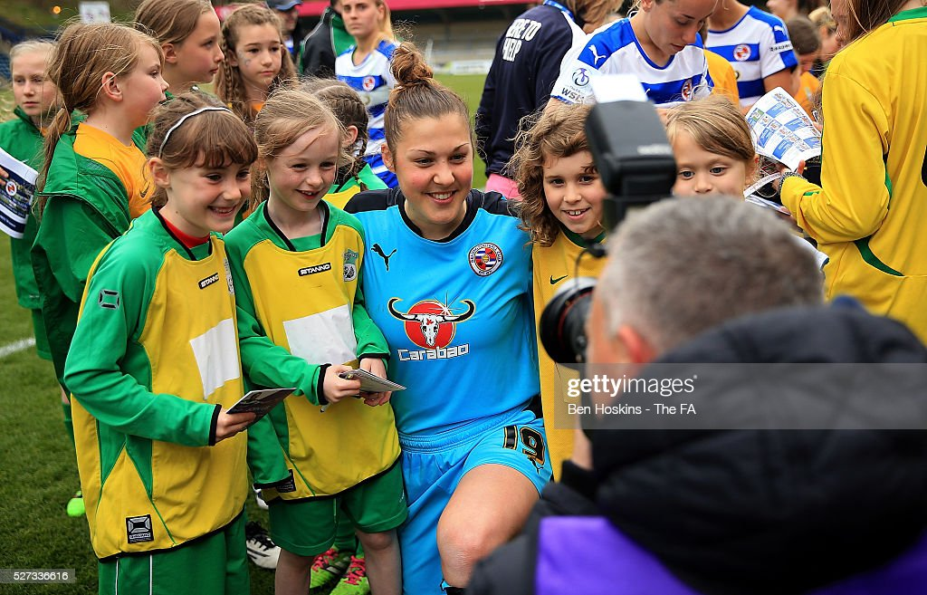 Mary Earps of Reading poses for a picture with fans following the WSL 1 match between Reading FC Women and Sunderland AFC Ladies on May 2, 2016 in High Wycombe, England.