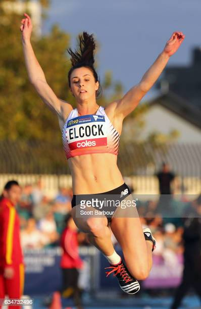 Mary Elcock of England competes in the Mixed Long Jump event during the Melbourne Nitro Athletics Series at Lakeside Stadium on February 11 2017 in...