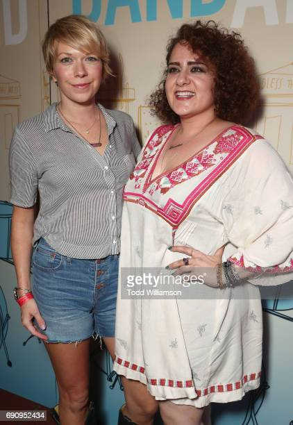 Mary Elizabeth Ellis and Artemis Pebdani attend the premiere of IFC Films' 'Band Aid' at The Theatre at Ace Hotel on May 30 2017 in Los Angeles...