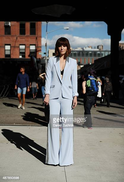 Mary Elizabeth Winstead is seen outside the Pamella Roland show wearing a Pamella Roland suit during New York Fashion Week 2016 on September 11 2015...