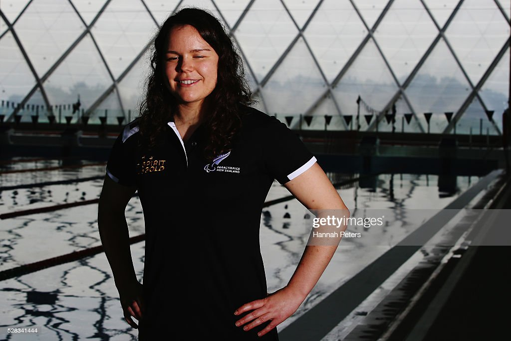 Mary Fisher poses for a photo after being named during the New Zealand Para-Swimming team announcement at Sir Owen Glenn Aquatic Centre on May 5, 2016 in Auckland, New Zealand.