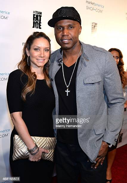 Mary Floyd and Cliff Floyd attends Team Fat Joe Celebrates Market America on February 8 2014 in Miami Beach Florida