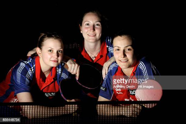Mary Fuller Joanna Parker and Kelly Sibley of England during the India Table Tennis Tour Southall London