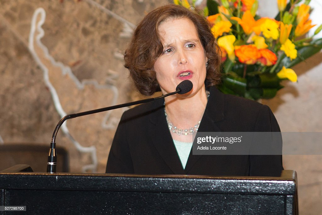 Mary Giliberti talks before Lighting The Empire State Building Green In Honor Of Mental Health Monthat The Empire State Building on May 2, 2016 in New York City.