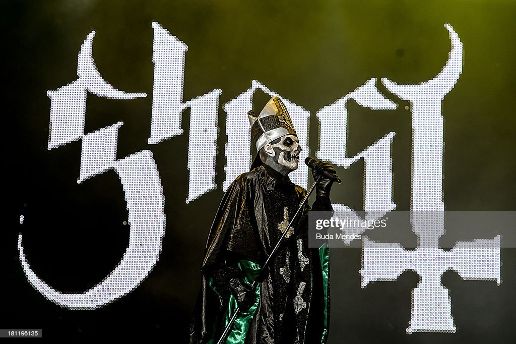 Mary Goore of Ghost band performs on stage during a concert in the Rock in Rio Festival on September 19 2013 in Rio de Janeiro Brazil