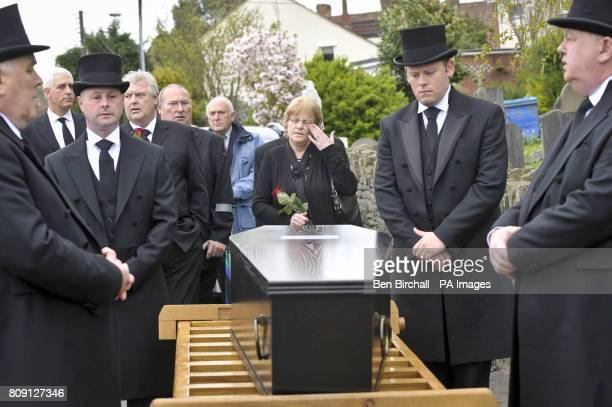 Mary Halliwell stands beside a coffin containing the skeletal remains of her greatgreatgreat grandfather's brother John Horwood who was hanged for...