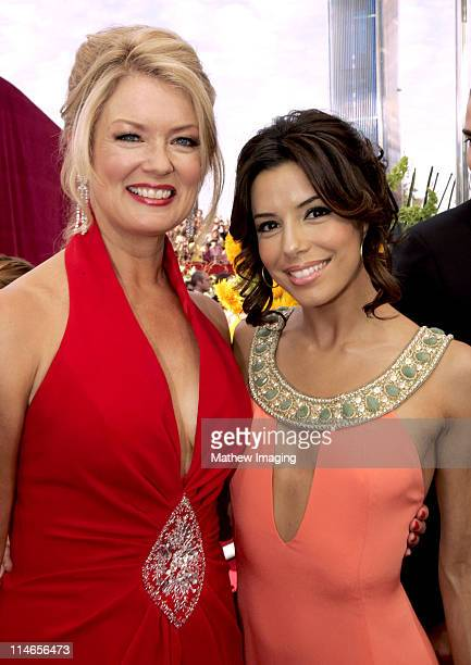 Mary Hart and Eva Longoria during 57th Annual Primetime Emmy Awards Entertainment Tonight Red Carpet at The Shrine in Los Angeles California United...