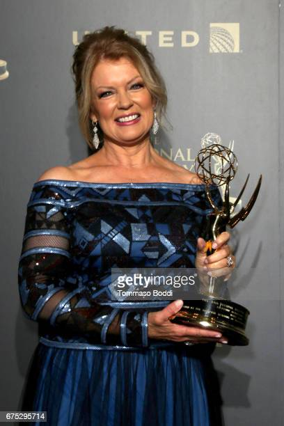 Mary Hart poses in the Press Room during the 44th Annual Daytime Emmy Awards at Pasadena Civic Auditorium on April 30 2017 in Pasadena California