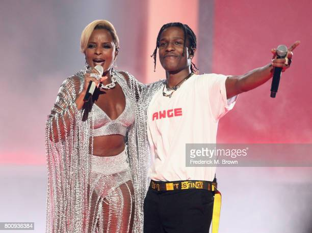 Mary J Blige and ASAP Rocky perform onstage at 2017 BET Awards at Microsoft Theater on June 25 2017 in Los Angeles California