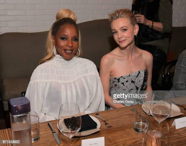 Mary J Blige and Carey Mulligan attend as AG AG Vanity Fair and Netflix celebrate director Dee Rees' 'Mudbound' on November 6 2017 in Los Angeles...