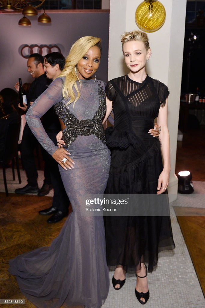 Mary J. Blige and Carey Mulligan attend Audi Hosts Opening Night Dinner For AFI & Netflix 'Mudbound' at Hollywood Roosevelt Hotel on November 9, 2017 in Hollywood, California.