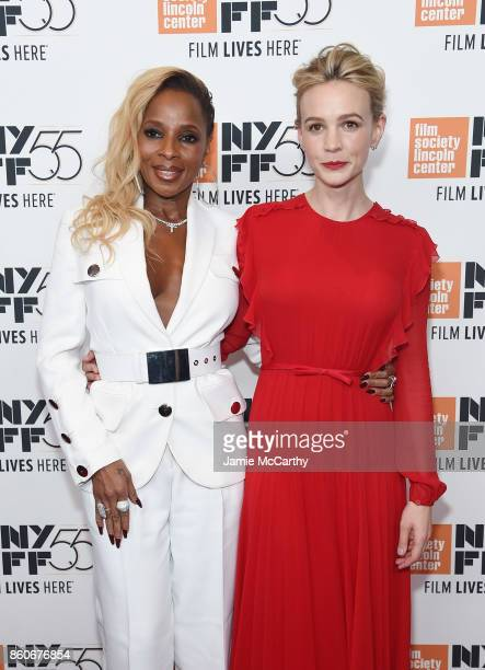Mary J Blige and Carey Mulligan attend the 'Mudbound' premiere during the 55th New York Film Festival at Alice Tully Hall on October 12 2017 in New...