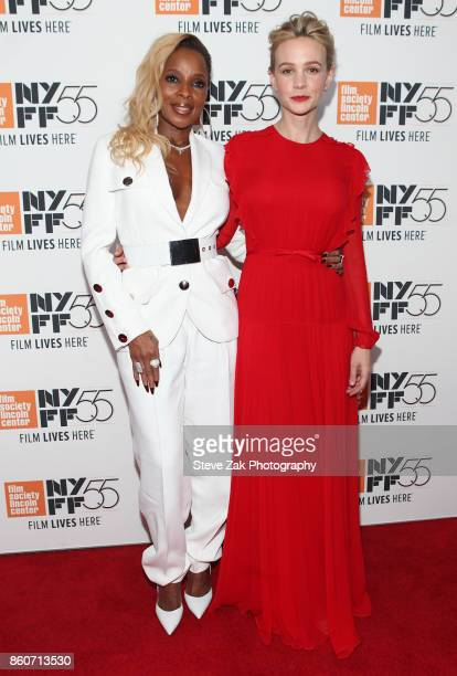 Mary J Blige and Carey Mulligan attend the 'Mudbound' screening during the 55th New York Film Festival at Alice Tully Hall on October 12 2017 in New...