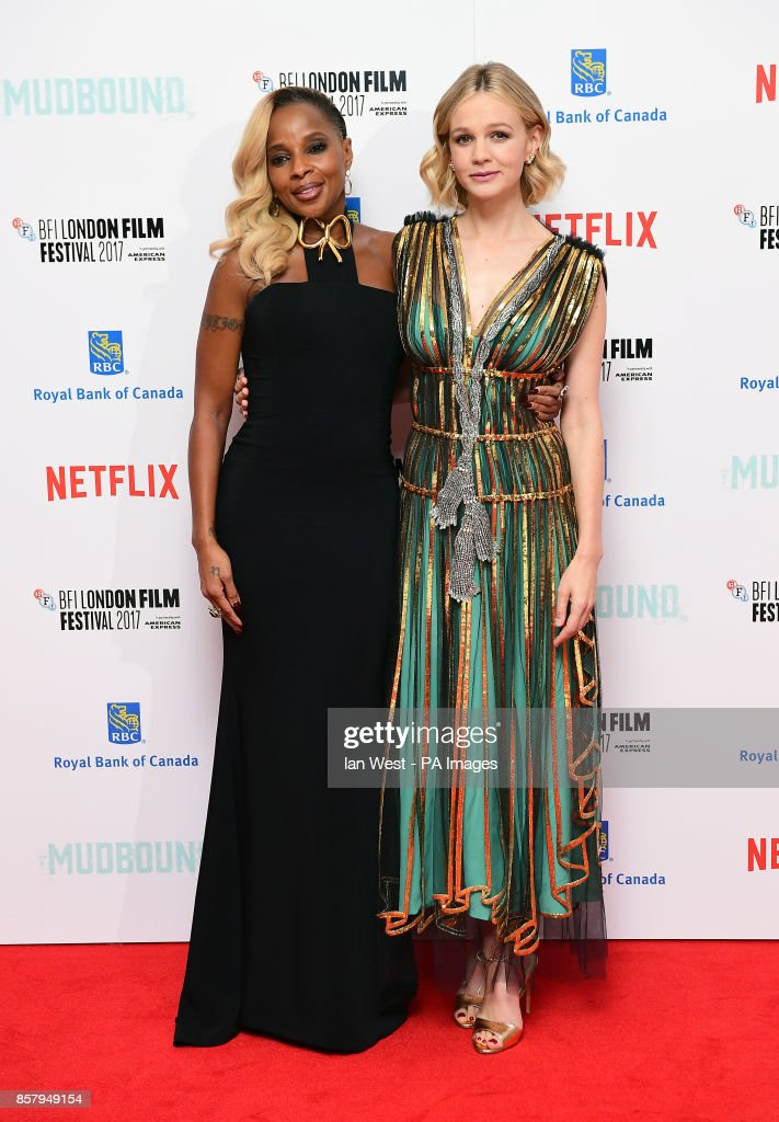 Mary J Blige and Carey Mulligan attending the Premiere of Mudbound as part of the BFI London Film Festival, at The Odeon Leicester Square, London.