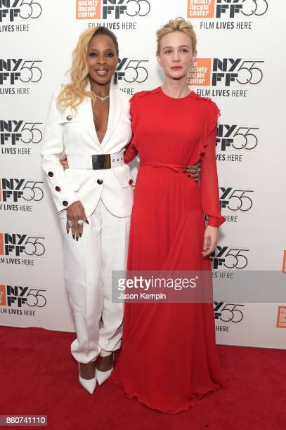 Mary J Blige and Carey Mulligan attends the 55th New York Film Festival screening of 'Mudbound' at Alice Tully Hall in New York on October 12 2017