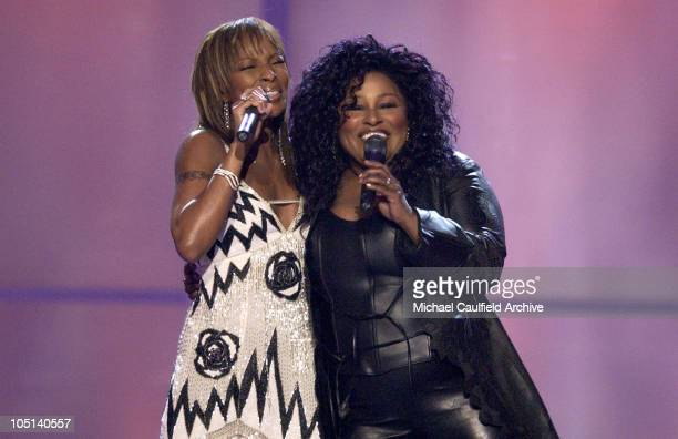 Mary J Blige and Chaka Khan during VH1 Divas Duets A Concert to Benefit the VH1 Save the Music Foundation Show at MGM Grand Garden Arena in Las Vegas...