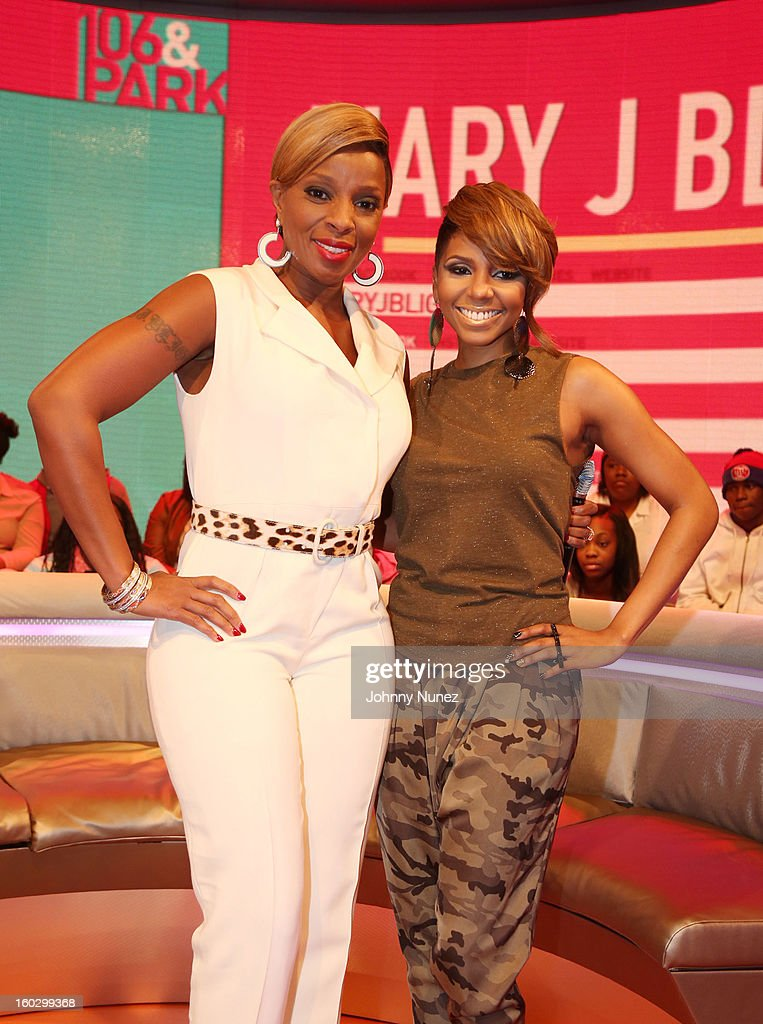 Mary J. Blige and host Miss Mykie visit at 106 & Park Studio on January 28, 2013 in New York City.