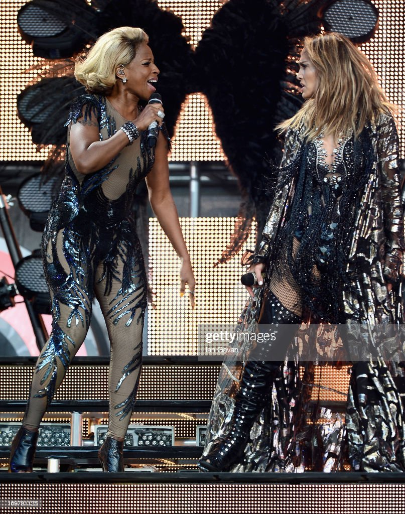 Mary J Blige and Jennifer Lopez perform on stage at the 'Chime For Change: The Sound Of Change Live' Concert at Twickenham Stadium on June 1, 2013 in London, England. Chime For Change is a global campaign for girls' and women's empowerment founded by Gucci with a founding committee comprised of Gucci Creative Director Frida Giannini, Salma Hayek Pinault and Beyonce Knowles-Carter.