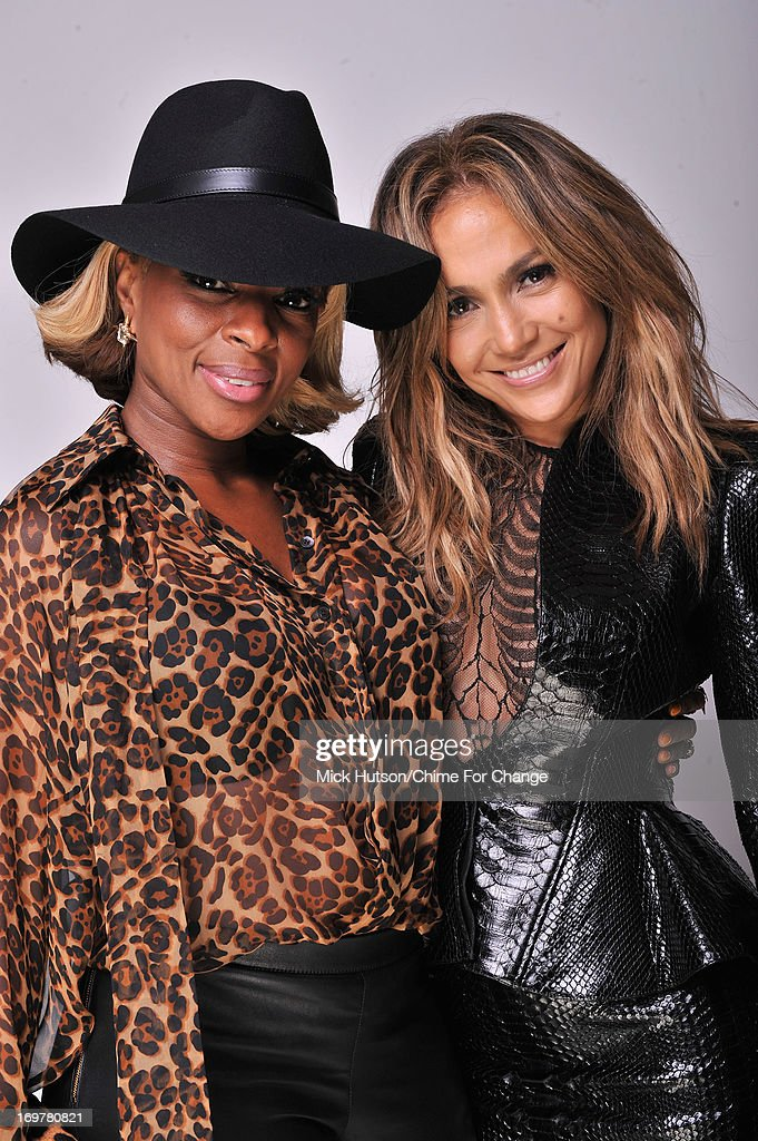 Mary J Blige and <a gi-track='captionPersonalityLinkClicked' href=/galleries/search?phrase=Jennifer+Lopez&family=editorial&specificpeople=201784 ng-click='$event.stopPropagation()'>Jennifer Lopez</a> pose for a portrait backstage at the 'Chime For Change: The Sound Of Change Live' Concert at Twickenham Stadium on June 1, 2013 in London, England. Chime For Change is a global campaign for girls' and women's empowerment founded by Gucci with a founding committee comprised of Gucci Creative Director Frida Giannini, Salma Hayek Pinault and Beyonce Knowles-Carter.