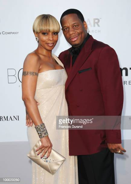 Mary J Blige and Kendu Isaacs arrive at amfAR's Cinema Against AIDS 2010 benefit gala at the Hotel du Cap on May 20 2010 in Antibes France