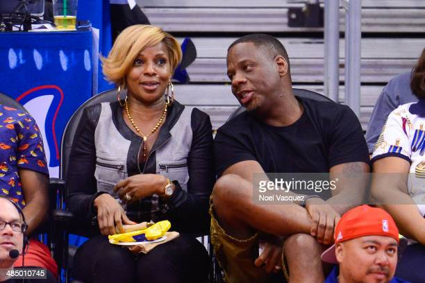 Mary J Blige and Kendu Isaacs attend a basketball game between the Denver Nuggets and the Los Angeles Clippers at Staples Center on April 15 2014 in...