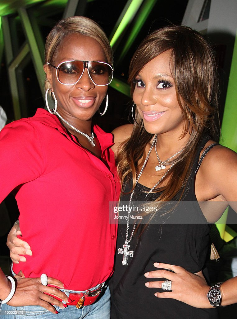 Mary J Blige and <a gi-track='captionPersonalityLinkClicked' href=/galleries/search?phrase=Tamar+Braxton&family=editorial&specificpeople=2079619 ng-click='$event.stopPropagation()'>Tamar Braxton</a> attend Don Pooh's Birthday Party at Copacabana on August 19, 2012 in New York City.