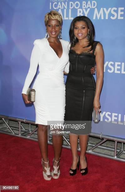 Mary J Blige and Taraji P Henson attend the New York premiere of 'Tyler Perry's I Can Do Bad All By Myself' at the SVA Theater on September 8 2009 in...