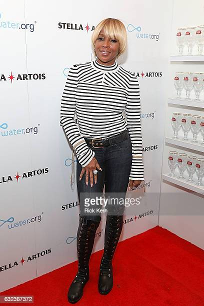 Mary J Blige at the 'Mudbound' party in the Stella Artois Filmmaker Lounge during the Sundance Film Festival on January 21 2017 in Park City Utah