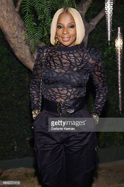 Mary J Blige attends Olivier Rousteing Beats Celebrate In Los Angeles at Private Residence on October 23 2015 in Los Angeles California