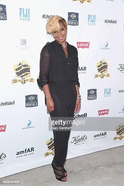 Mary J Blige attends the 5th Annual Kiehl's LifeRide for amfAR Finale Celebration on August 12 2014 in New York City