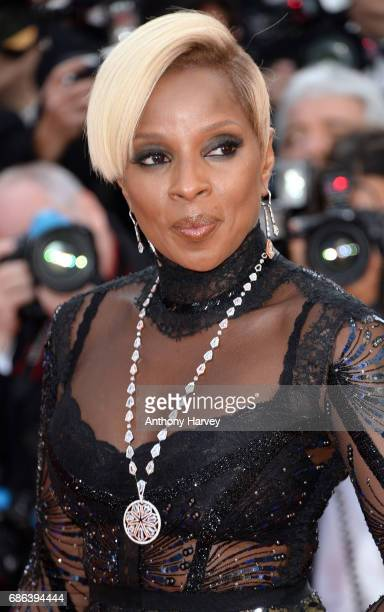 Mary J Blige attends the 'The Meyerowitz Stories' screening during the 70th annual Cannes Film Festival at Palais des Festivals on May 21 2017 in...