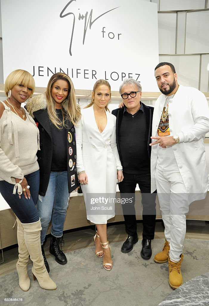 Mary J. Blige, Ciara, Jennifer Lopez, Giuseppe Zanotti and French Montana attend the Giuseppe for Jennifer Lopez Launch at Neiman Marcus Beverly Hills on January 26, 2017 in Beverly Hills, California.
